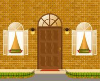 Facade of house with windows. Illustration for a design Stock Images