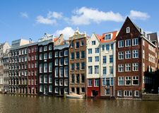 Facade of houses in Amsterdam Stock Photos