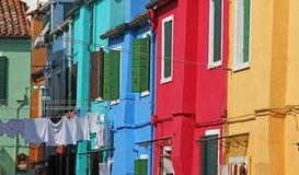 Facade of houses on the island of BURANO near Venice Royalty Free Stock Photos