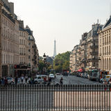 Facade of  houses at the Pantheon Square in Paris Stock Images