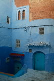 Facade of housing. In Chefchaouen, Morocco Royalty Free Stock Photo