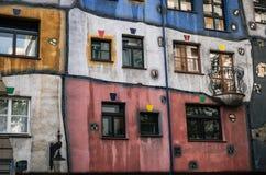 Facade of Hundertwasser house in Vienna, Austria stock photo