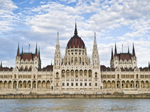 Facade of the Hungarian Parliament. Facade of the Parliament of Hungary, located in Budapest, seen from the river Danube Stock Photo