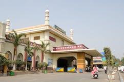 Facade, Hyderabad Railway Station. HYDERABAD, ANDHRA PRADESH, INDIA - JANUARY 8: Passengers outside the main railway station at Hyderabad on January 8 2013.  The Royalty Free Stock Photos