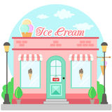 Facade ice cream shop with a signboard, awning and symbol in shopwindow. Front shop for brochure or banner. Vector illustration Royalty Free Stock Photos