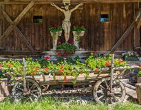 Facade if an wooden house typical in a alps village on Ridnaun Valley/Ridanna Valley - Racines country - near Sterzing/Vipiteno, S stock image