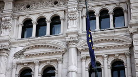 Facade of an important building in Trieste. Close up of Facade of an important building in Trieste stock footage