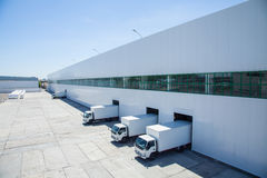Facade of an industrial building and warehouse Stock Photo