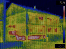 Facade Infrared Leak. Basement Heat Leak Thermal Image Stock Photo