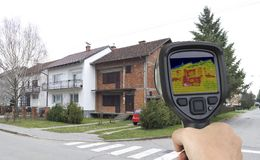 Facade Infrared Leak. Before Facade Thermal Imaging Infrared Leak Stock Images