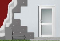 Facade insulation setup vector illustration