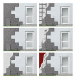 Facade insulation step by step. Illustration showing the setup of modern facade insulation with polystyrene foam tiles, plaster and paint Royalty Free Stock Image