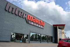 Facade of an Intermarche store. VERDUN, FRANCE - AUGUST 2017: Intermarché is a French supermarket, part of the retail group Les Mousquetaires Stock Photography