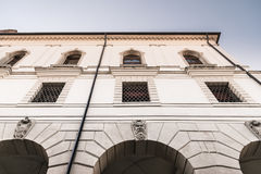 Facade of an Italian medieval building. Royalty Free Stock Photography