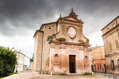 Facade of Italian XVIII Century church. Facade of XVIII Century church, the Church of Pius Suffrage in Cotignola, Italy Stock Photography