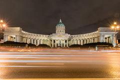 Facade of Kazan Cathedral at night in St. Petersburg, Russia Stock Photo