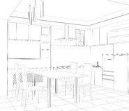 Facade kitchen vector sketch interior Stock Image