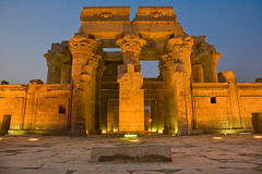 Facade of Kom Ombo Temple by night Stock Photos