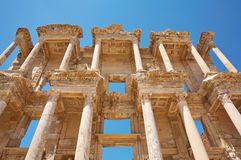 Facade of the Library of Celsus Royalty Free Stock Image