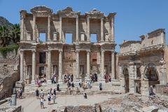 Facade of the Library of Celsus Stock Images