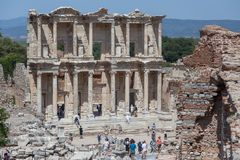 Facade of the Library of Celsus Royalty Free Stock Photos