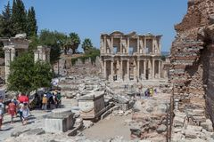 Facade of the Library of Celsus Royalty Free Stock Images