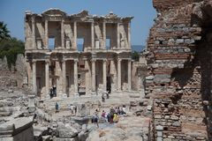 Facade of the Library of Celsus Royalty Free Stock Photo