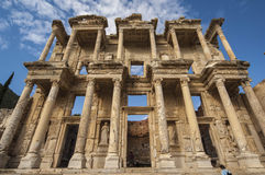 The facade of the Library in Ephesus Stock Photo