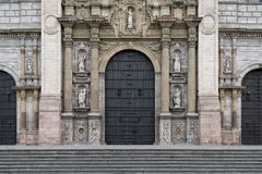 Facade of Lima Cathedral at Plaza de Armas Stock Photography