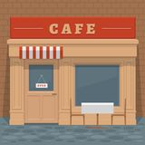 Facade local street cafe with windows, doors and table, front vi. Ew. Front of house. Vector detailed illustration Stock Images