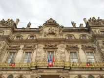 The facade of Lyon Hotel de ville, Lyon old town, France Royalty Free Stock Images