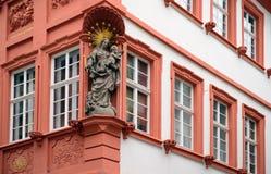 Facade Madonna statue, Heidelberg, Germany Royalty Free Stock Photos