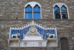 Facade at the main entrance of Palazzo Vecchio Royalty Free Stock Photo