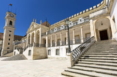 Facade of main square of university of Coimbra, Portugal. Stock Image