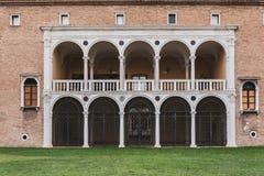 Facade from Mar Museo d'arte della Citta, Ravenna, Italy. Balcony and door details Royalty Free Stock Photos