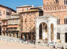 Facade of a marble chapel Cappella di Piazza in Siena Stock Photography