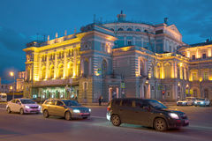 The facade of the Mariinsky theatre, late april evening. Saint Petersburg Stock Images