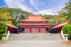 Facade of Martyrs shrine in Tainan, Taiwan. Martyrs Shrine recalls the architecture of the Hall of Supreme Harmony in Beijing`s Forbidden City stock photography