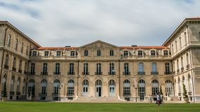 Facade of medicine faculty of Aix-Marseille University, students hanging around. Stock footage stock video footage