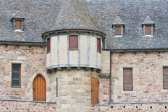 Facade of a medieval castle with tower Royalty Free Stock Photos