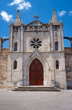 The facade of a medieval church. In Largentiere, France Royalty Free Stock Photo