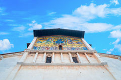 Facade of the medieval church of San Frediano, with mosaic Royalty Free Stock Images