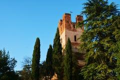 Facade of medieval tower and trees, Castelfranco Veneto Royalty Free Stock Photos