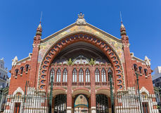 Facade of the Mercado Colon market hall in Valencia Stock Image