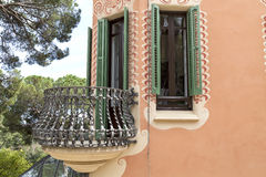 Facade with metal balcony on Gaudi House Museum, Barcelona, Spain Royalty Free Stock Images