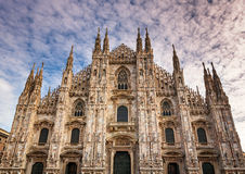 Facade of Milan Cathedral (Duomo di Milan) in the Morning Stock Photography