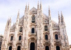 Facade of Milan Cathedral Duomo from the Square Piazza del Duomo, Lombardy, Italy. The largest church in Italy. Image with copy. Space stock images