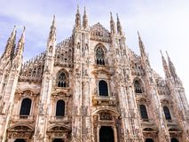 Facade of Milan Cathedral Duomo from the Square Piazza del Duomo, Lombardy, Italy. The largest church in Italy. Image with copy. Space royalty free stock images