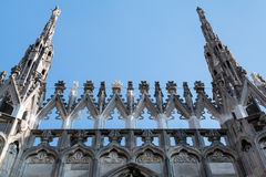 Facade of Milano cathedral famous for its numerous statues on steeples. Milano, Italy Stock Photo