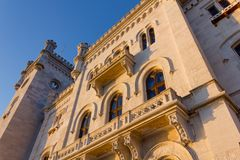 Sunset View of Miramare Castle in Trieste Royalty Free Stock Photo